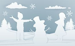 Children Building Snowman Paper Art Style Stock Photos