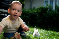 Children and bunny Stock Image