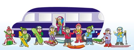 Children and bus royalty free illustration