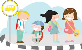 Children at bus stop. Vector illustration of a group of children waiting for their school bus at a bus stop Royalty Free Stock Image