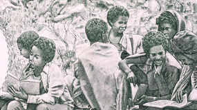Children in bush school. On 1 Nafka 1997 banknote from Eritrea Stock Photos