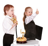 Children in business suit with telephone. Royalty Free Stock Images
