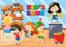 Children buying things in kids zone vector illustration