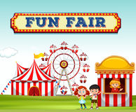 Children buying ticket at fun fair. Illustration Royalty Free Stock Photo
