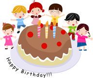 Children with a cake. Illustration Royalty Free Stock Photography