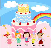 Children with a cake Stock Photography