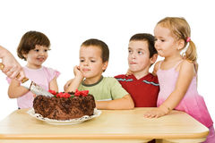 Children with cake Royalty Free Stock Image