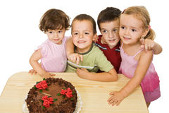 Children with cake Royalty Free Stock Photography