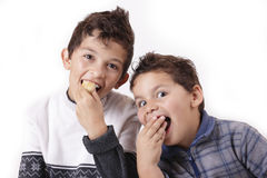 Children and cakes. Two boys with'm looking forward haircut Royalty Free Stock Photo