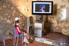 Children in Calatabiano Castle in Sicily Royalty Free Stock Images