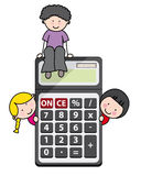 Children with a calculator Stock Photos