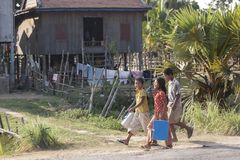 Children in Cambodian village. Cambodia is one of the poorest country in the world. Many children in villages have no chance of education and are forced to work Royalty Free Stock Photo