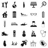 Children camp icons set, simple style Stock Images