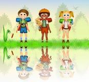 Children on camp vector illustration