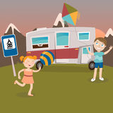 Children on Camper Vacation. Happy Kids Playing in Mountains. Vector Royalty Free Stock Photography