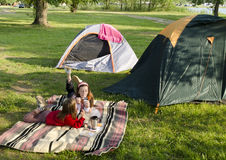 Children camping. Happy children camping with tent stock photo