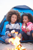 Children Camping On Beach And Toasting Marshmallows Stock Images