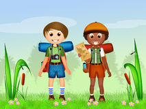 Children camping Stock Photo