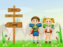 Children camping Stock Image