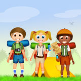 Children camping Royalty Free Stock Photography