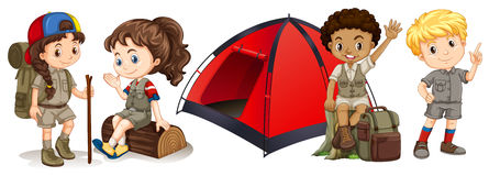 Children camping and hiking Royalty Free Stock Image