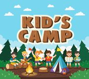 Children camping out in the park. Camping kids concept. Summer camp education advertising. Vector illustration stock illustration