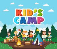 Children camping out in the park. Camping kids concept. Summer camp education advertising. Vector illustration royalty free illustration