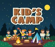 Children camping out in the park. Camping kids concept. Summer camp education advertising. Vector illustration vector illustration