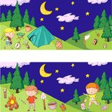 Children camping. Summer camp. Scouts, adventure, hiking, exploration. School and kindergarten kids. Children drawing. Kids drawing illustration style Royalty Free Stock Images