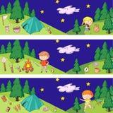 Children camping. Summer camp. Scouts, adventure, hiking, exploration. School and kindergarten kids. Children drawing. Kids drawing illustration style Stock Photo