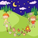 Children camping. Summer camp. Scouts, adventure, hiking, exploration. School and kindergarten kids. Children drawing. Kids drawing illustration style Stock Photos