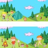 Children camping. Summer camp. Scouts, adventure, hiking, exploration. School and kindergarten kids. Children drawing. Kids drawing illustration style Stock Image