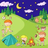 Children camping. Summer camp. Scouts, adventure, hiking, exploration. School and kindergarten kids. Children drawing. Kids drawing illustration style Stock Photography