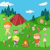 Children camping. Summer camp. Scouts, adventure, hiking, exploration. School and kindergarten kids. Children drawing. Kids drawing illustration style Royalty Free Stock Photos