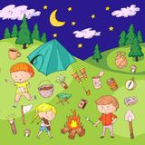 Children camping. Summer camp. Scouts, adventure, hiking, exploration. School and kindergarten kids. Children drawing. Kids drawing illustration style Royalty Free Stock Image