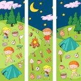 Children camping. Summer camp. Scouts, adventure, hiking, exploration. School and kindergarten kids. Children drawing stock illustration