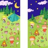 Children camping. Summer camp. Scouts, adventure, hiking, exploration. School and kindergarten kids. Children drawing. Kids drawing illustration style Stock Images