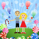 Children with candies Stock Photography