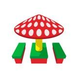 Children canopi mushroom cartoon icon Stock Photos