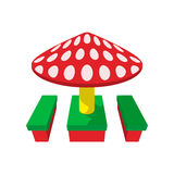 Children canopi mushroom cartoon icon Royalty Free Stock Photos
