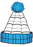 Children cap with a pompon. Illustration of a blue children cap with a pompon Stock Photos