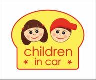 Children in car board Stock Photos