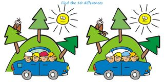 Children in car, game. For kids. Find ten differences Stock Image
