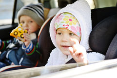 Children in car Royalty Free Stock Photography