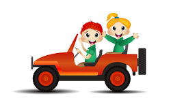 Children on a car Royalty Free Stock Photo