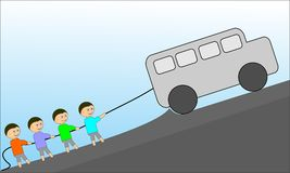 Children and car. This is a logo or template mouth cartoon often called in the designer`s , this photo is made by way trace of sketches that are already making Royalty Free Stock Photos