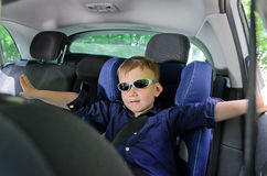 Children car seat and boy Stock Photo