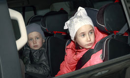 Children in the car. Royalty Free Stock Images