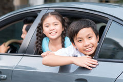 Children in the car Royalty Free Stock Image