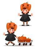 Children& x27 ; caractère de s Halloween Costume de potiron Illustra de vecteur Image stock